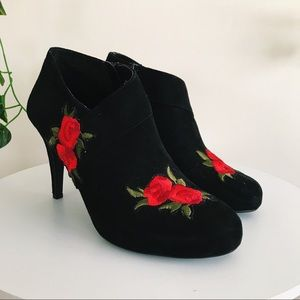IMPO | Rose Embroidered Patch Heel Booties
